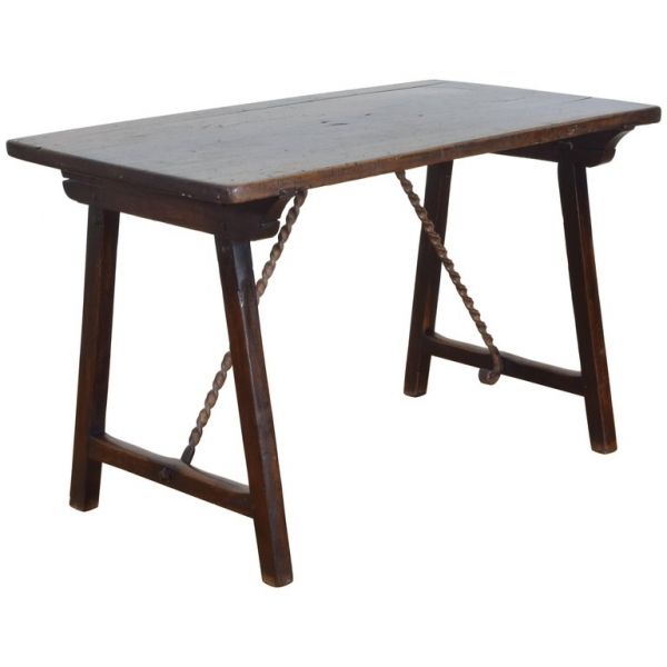 Walnut and Wrought Iron Folding Table