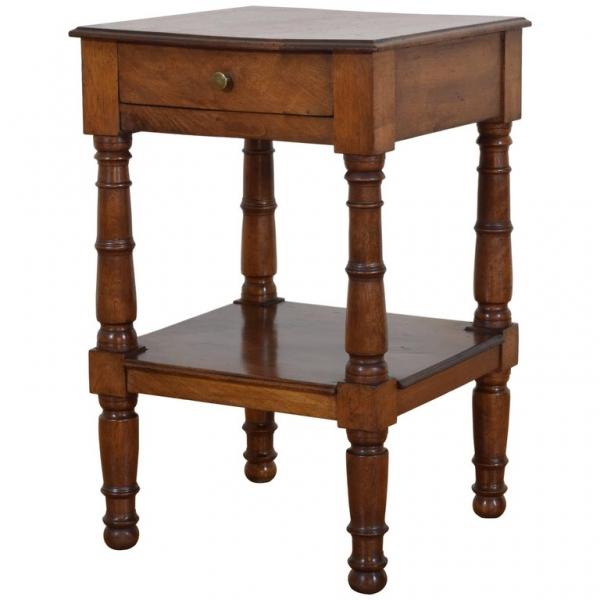 Walnut Two-Tier Side Table
