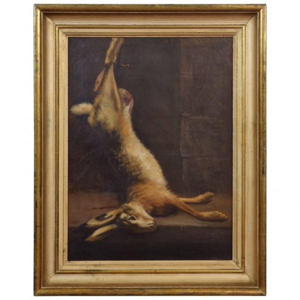 Signed Oil on Canvas, Still Life of Rabbit, in period Giltwood Frame