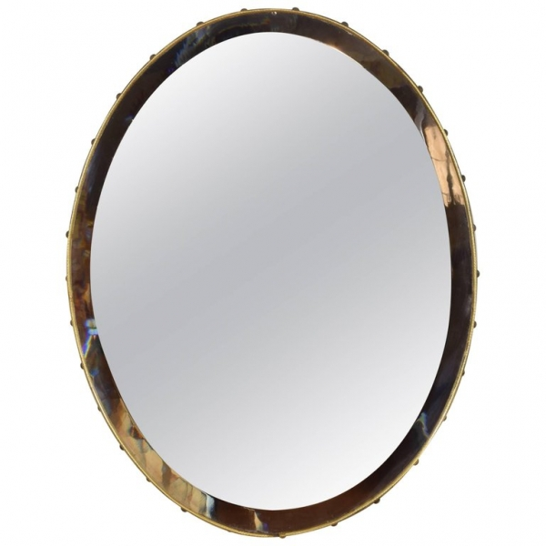 Brass Framed Oval Mirror with Beveled Mirrorplate