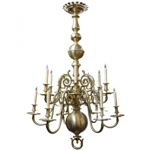 Large Brass 12-Light Chandelier