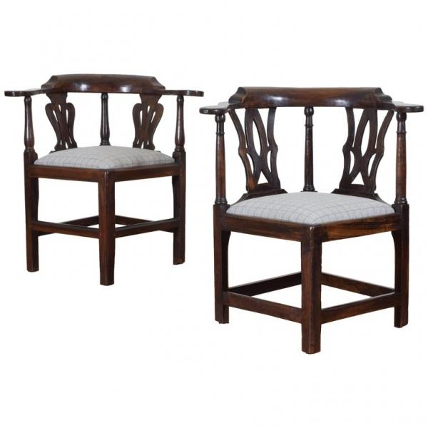 Near Pair of Walnut Corner Chairs
