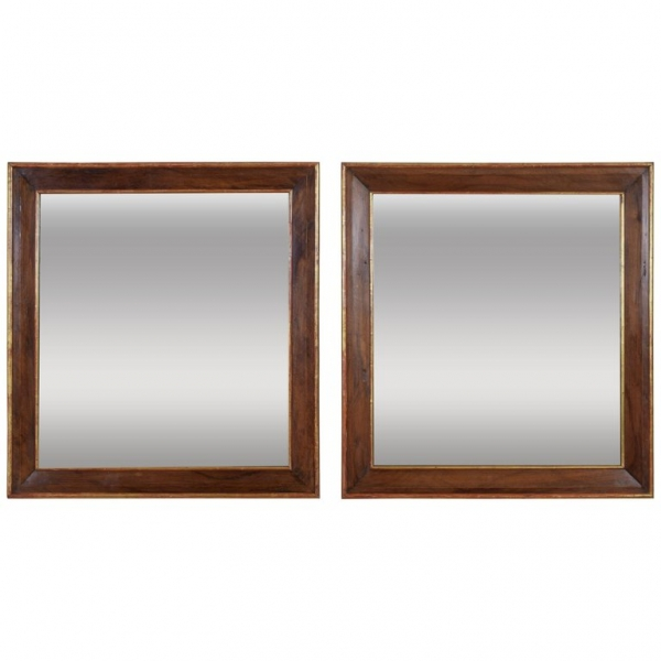 Pair of Walnut and Giltwood Wall Mirrors