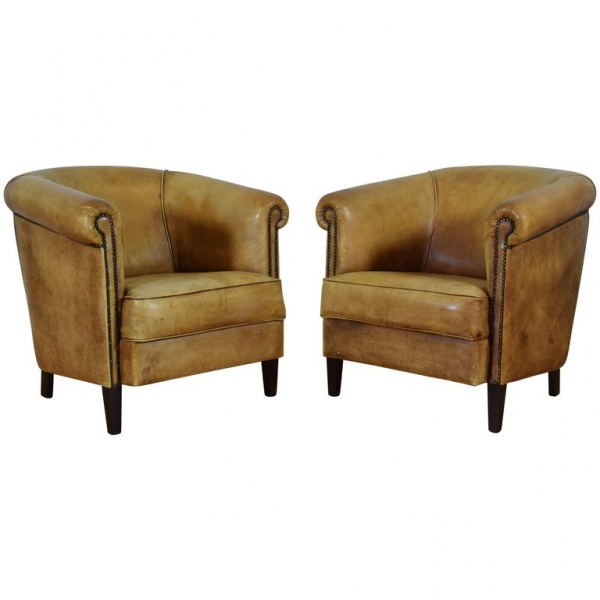 Pair of Light Tan Leather Club Chairs