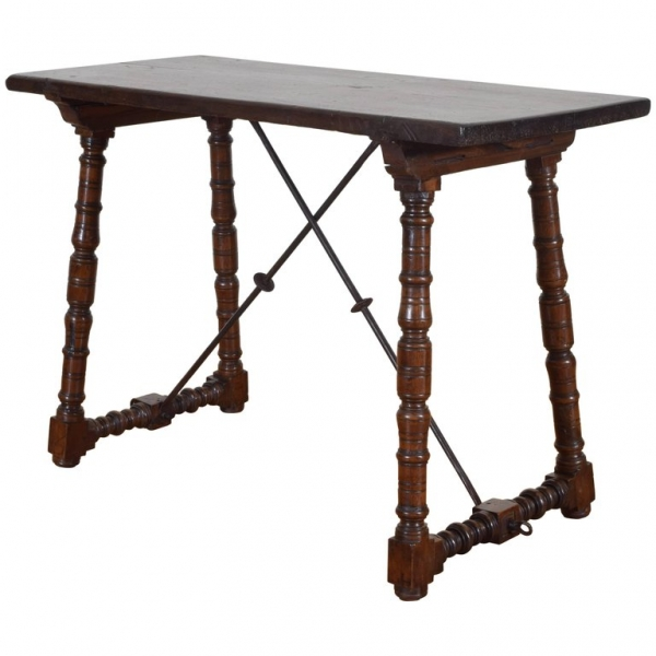 Walnut and Wrought Iron Table