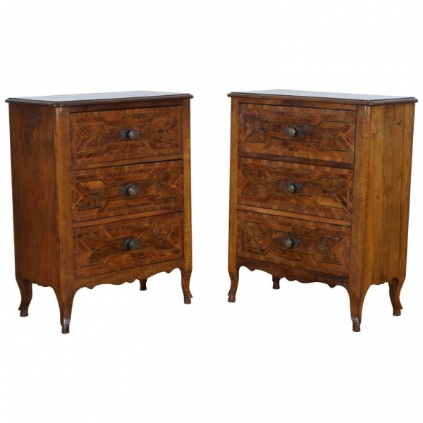 Pair of Walnut and Fruitwood Bedside Commodes