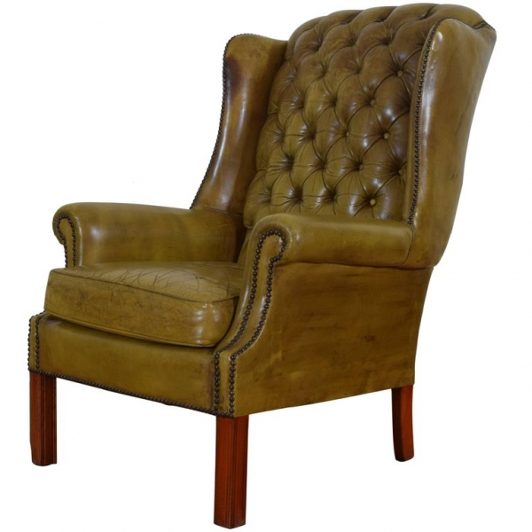 Tufted Leather Upholstered Wing Chair
