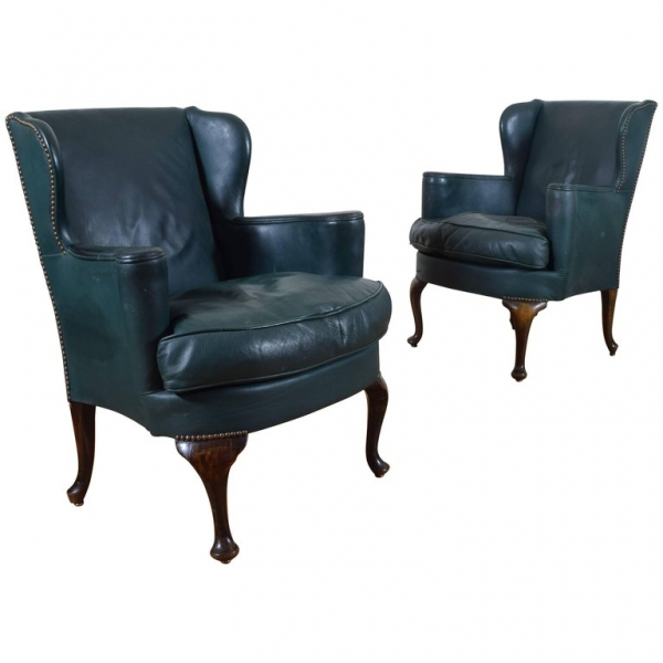 Pair of Oak and Green Leather Upholstered Wingchairs