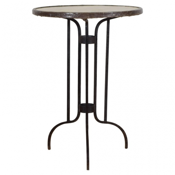 Iron and Marble-Top Bistro Table