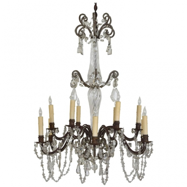 Gilt Iron and Murano Glass 12-Light Chandelier