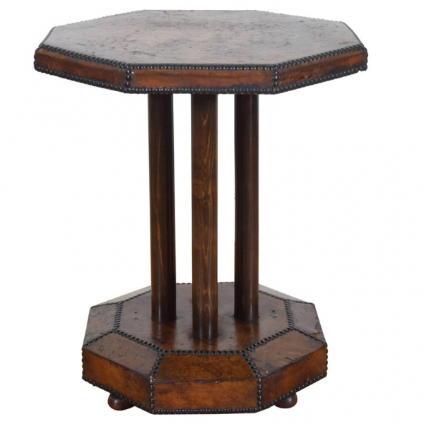 Octagonal Leather Covered Table with Nailhead Trim