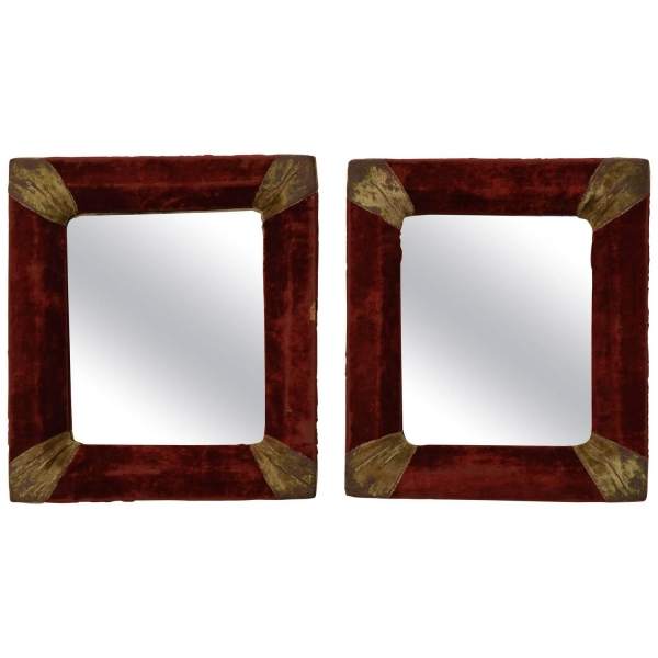 Pair of Velvet Covered Frames with Later Mirror Plates