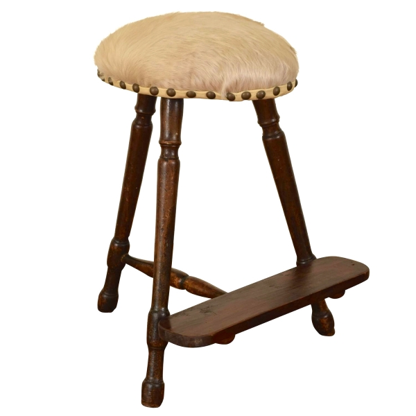 Walnut and Upholstered Tall Work Stool