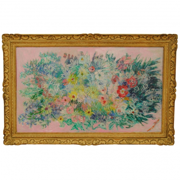 "Oil on Canvas ""Mai"" signed Louis Barthe"