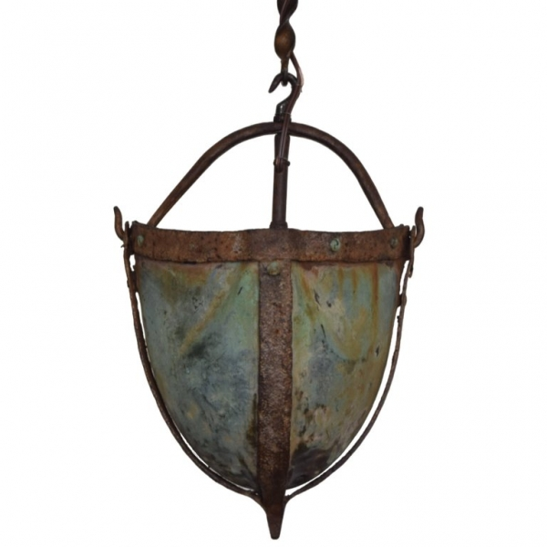 Iron and Copper Secchio Pozzo or Well Bucket Mounted as a Lantern