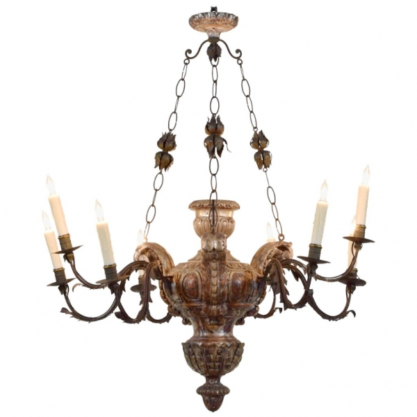 Carved and Silvered Wooden 9-Light Chandelier
