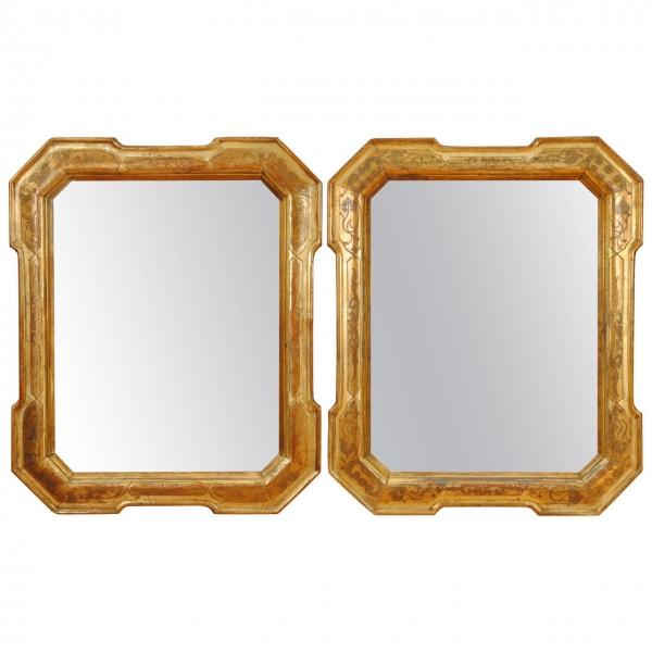 Pair Of Ferrara Giltwood Mirrors Robuck Co