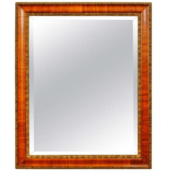 Walnut and Gilt Gesso Mirror with Original Beveled Mirrorplate