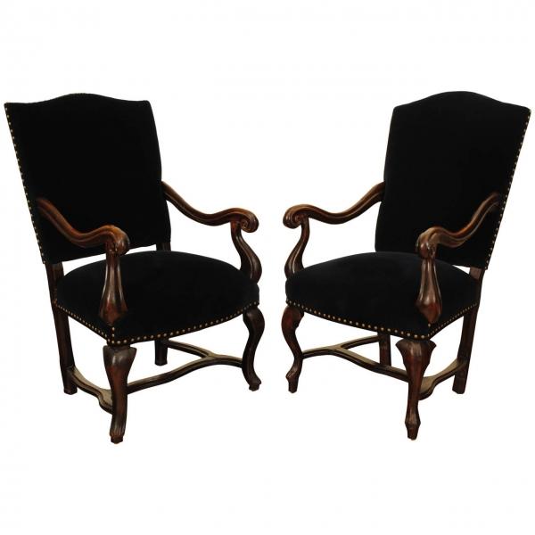 Near Pair of Walnut & Blue Velvet Upholstered Armchairs