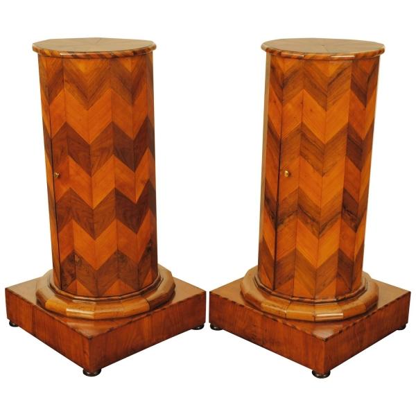 Walnut and Fruitwood Veneered Pedestal Cabinets