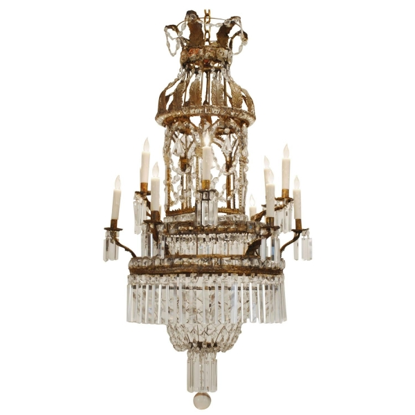 Pressed Brass, Iron, & Glass 12-Light Chandelier