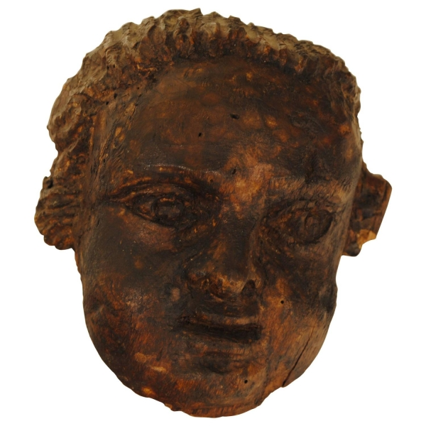 Carved Wood Fragment of a Cherub