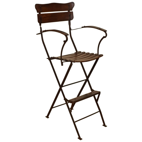 Forged Iron and Wooden Folding Umpire's Chair