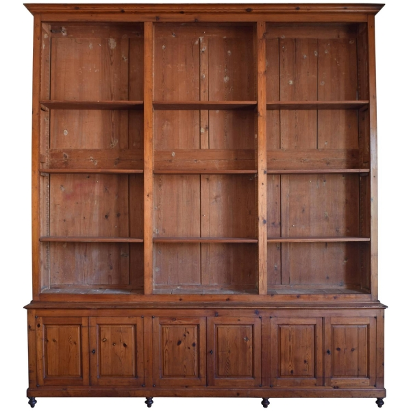 Large Bookcase in Chestnut, Open Shelves and Locking Cabinets