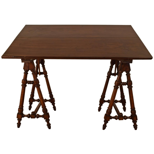 Walnut and Rosewood Adjustable Drafting Table