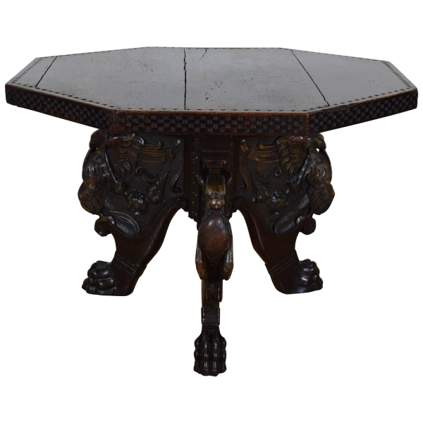 Octagonal Walnut Center Table