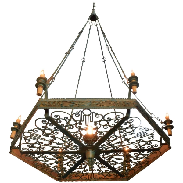 Enormous Wrought and Painted Iron Chandelier