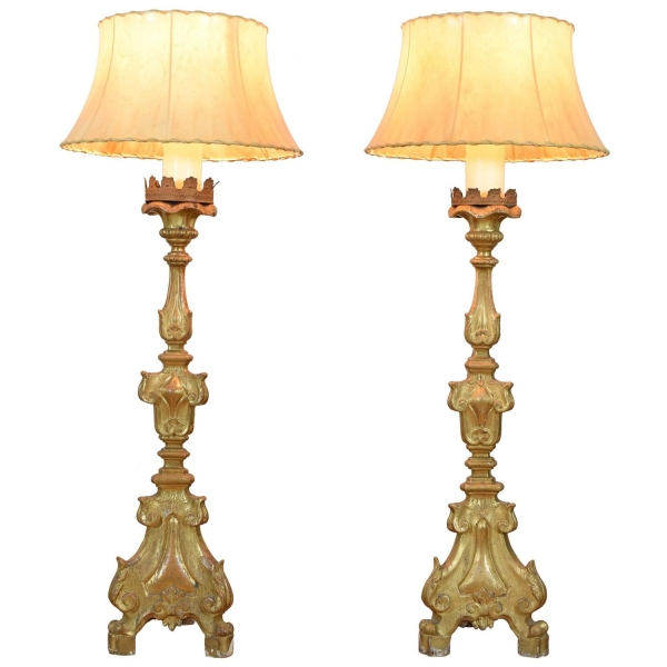 Pair of Giltwood Candlesticks Mounted as Lamps
