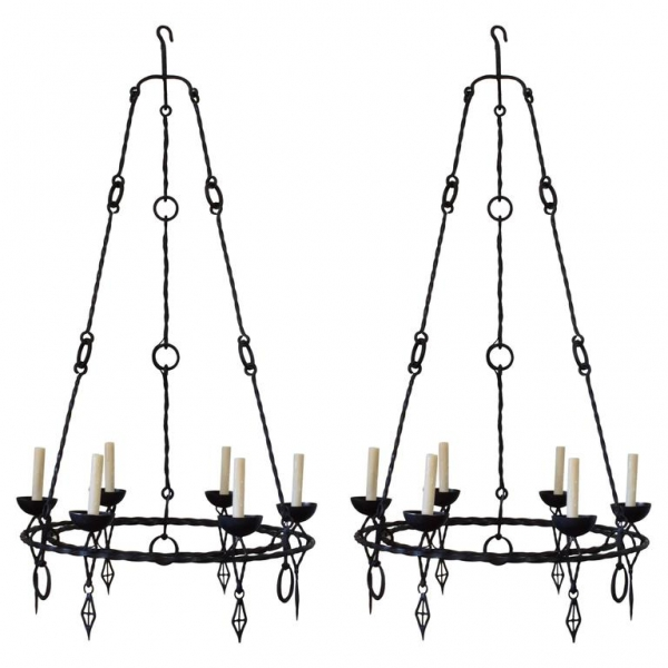 Pair of Wrought Iron 6-Light Chandeliers