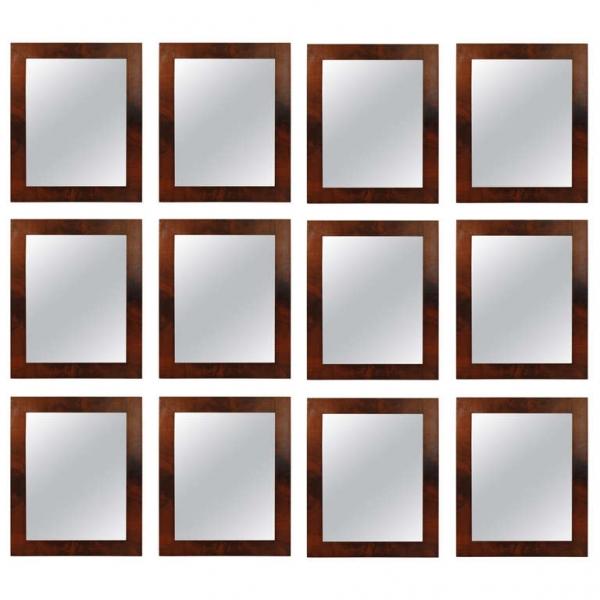 Group of 12 Mahogany Veneer Mirrors