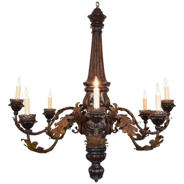 Walnut and Painted Metal 8-Light Chandelier, UL Wired