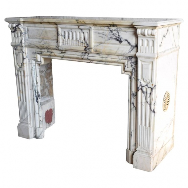 Carved Marble Mantel, Probably Arabescato Marble