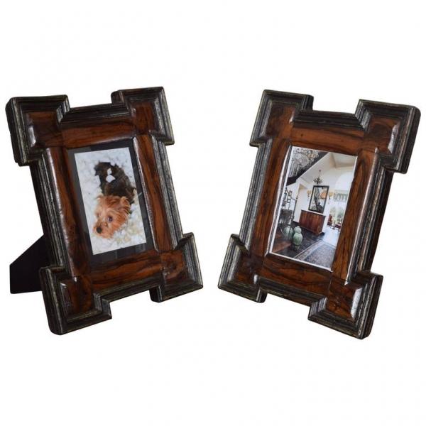 Pair of Olivewood and Ebonized Frames