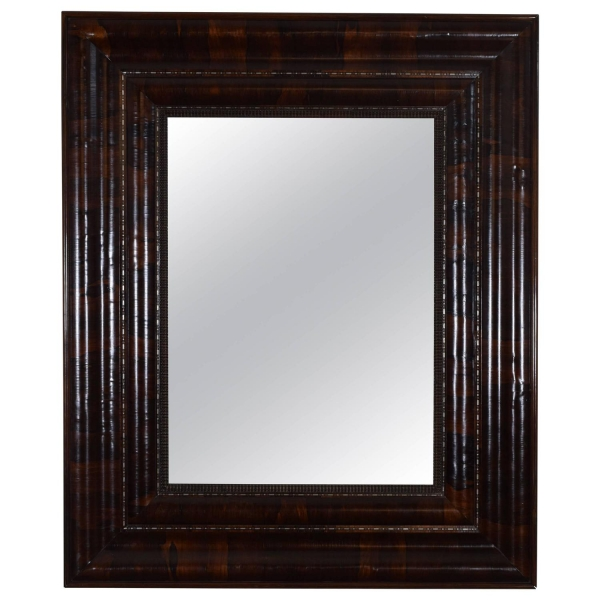 Large Rosewood and Metal Inlaid Mirror