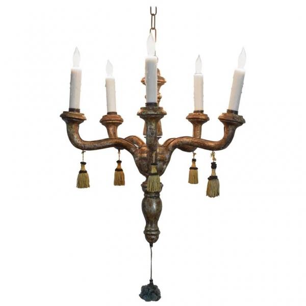 Diminutive Carved Giltwood 5-Light Chandelier