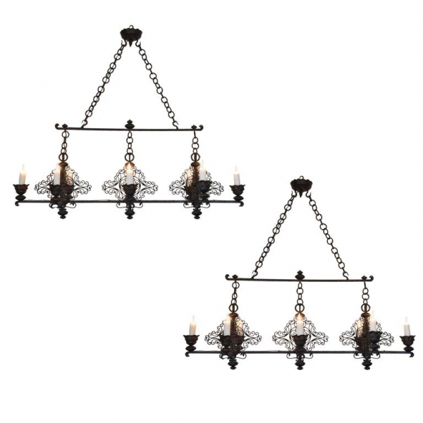 Pair of Wrought Iron Horizontal 8-Light Chandeliers, UL Wired
