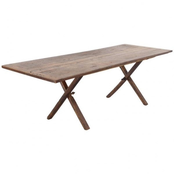 Poplar Campaign Table with Folding Trestle Base