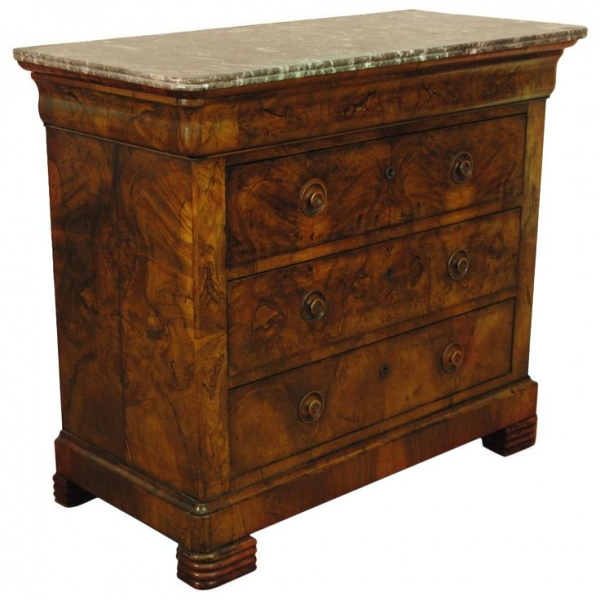 Burled Walnut 3-Drawer Marble-Top Commode