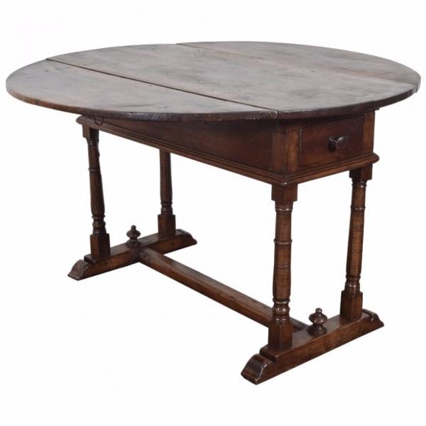 Unusual Walnut Drop-Leaf 2-Drawer, Circular Center Table
