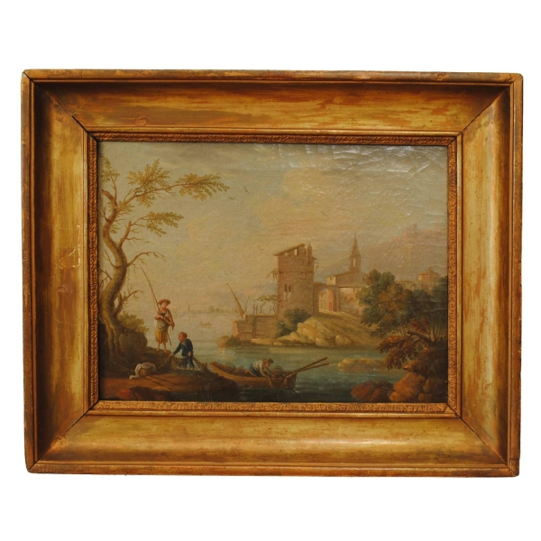 Oil on Canvas, Lake Scene with Fishermen and Ruins