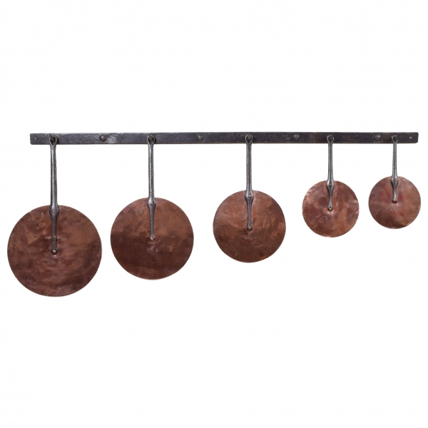 Hanging Rack in Steel with 5 Copper Lids