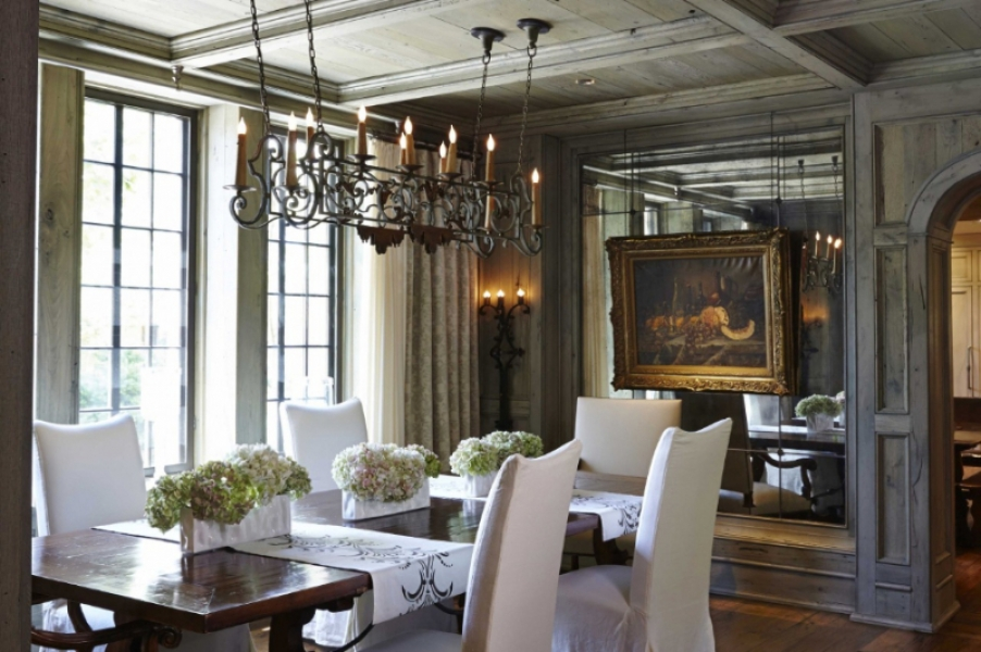 Wrought And Painted Iron 8 Light Horizontal Chandelier