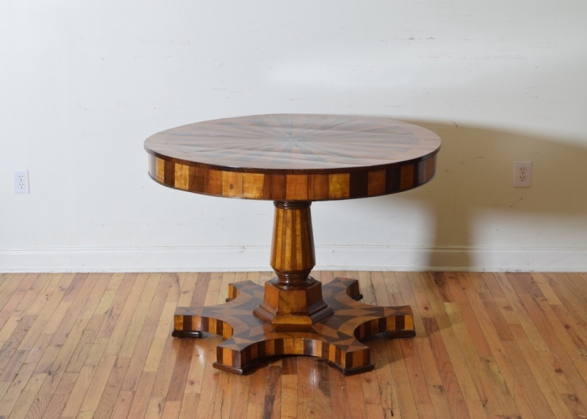 Walnut and Cherrywood Inlaid Center Table