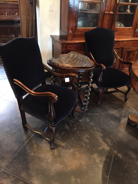 Near Pair of Walnut & Blue Velvet Upholstered Armchairs