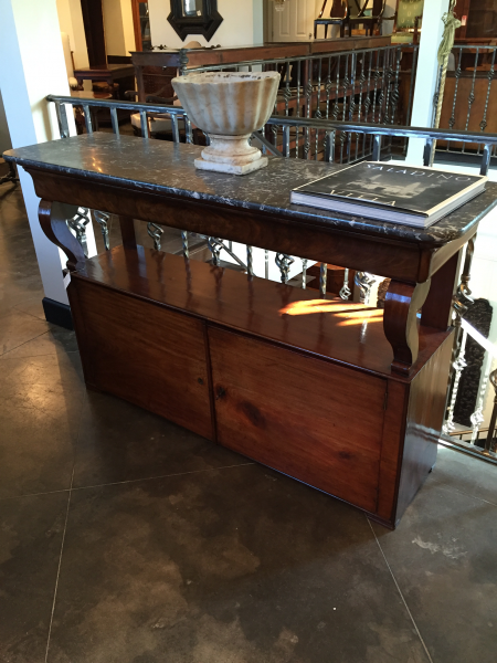 Shallow Walnut Marble-Top Console