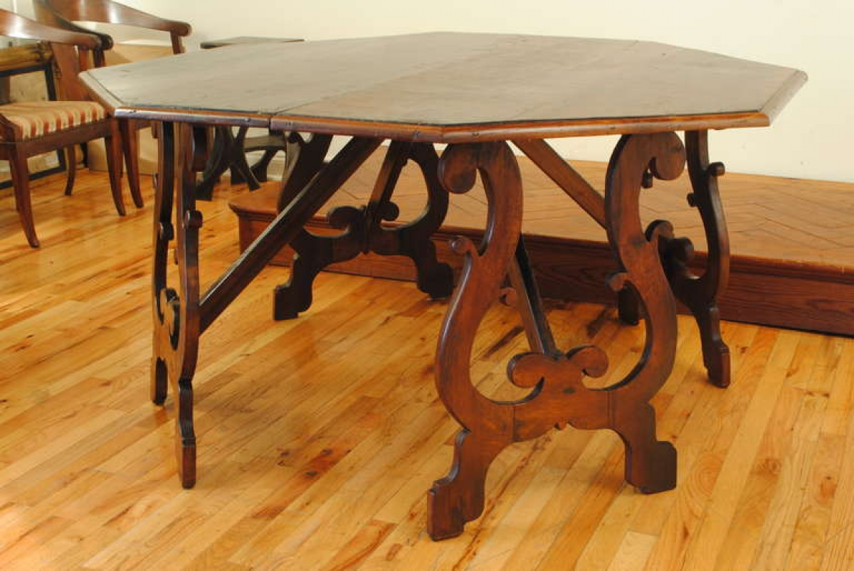 large pair of walnut console tables octagonal dining table